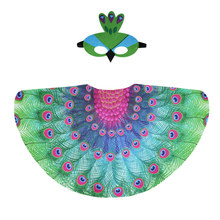 Special 120*70 cm Girl Peacock Costume Wing Mask Fairy School Dance Costumes Garden Animal For Kids