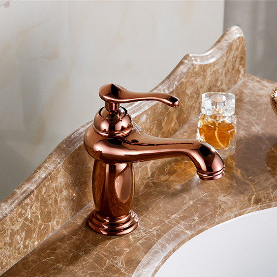 Free Shipping Rose Gold Bathroom Basin Faucet With Single Handle Solid  Brass Bathroom Basin Sink Water Faucets In Basin Faucets From Home  Improvement On ...