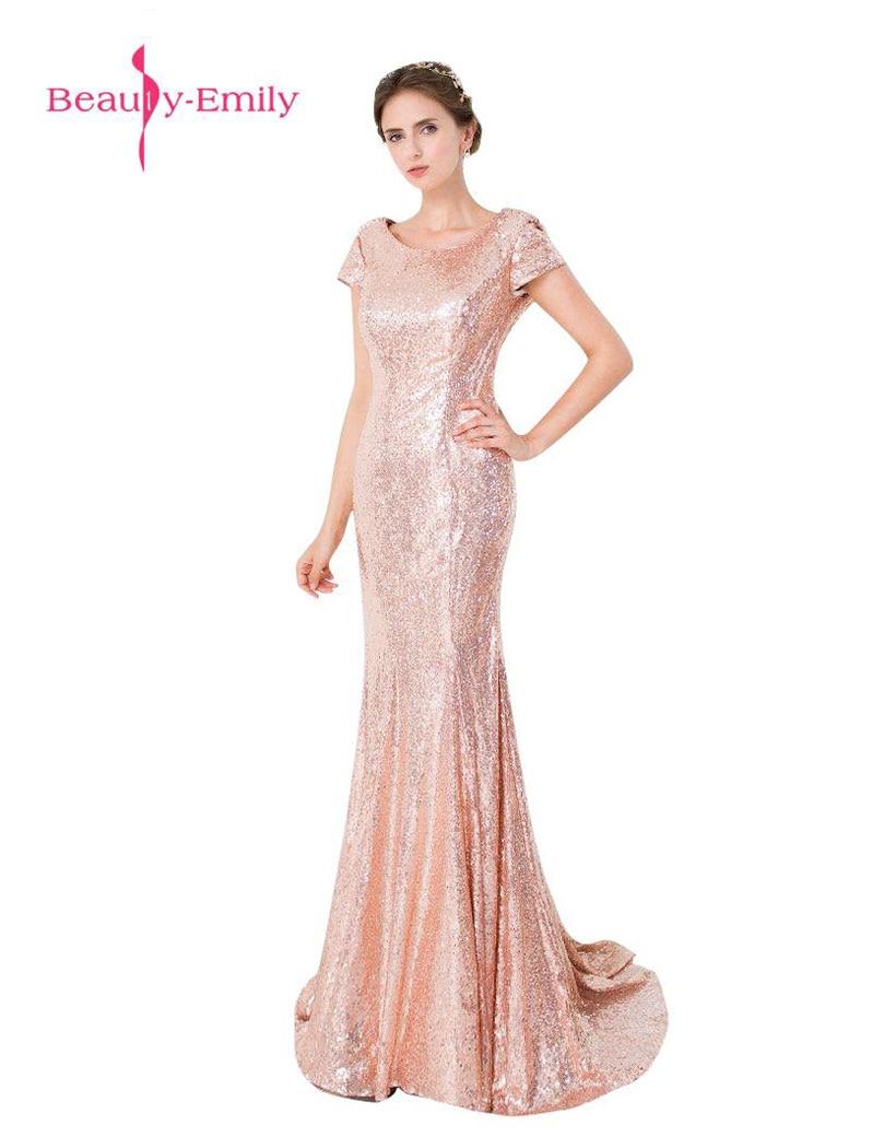Beauty-Emily Sequined evestido de noche Mermaid Backless O-neck Long Wedding Party   Bridesmaid     Dresses   2017 vestido de noite