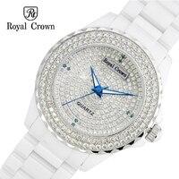 Керамика леди Для женщин кварцевые часы Японии Настройка канала Кристалл час тонкой Мода часы Luxury девушки подарок Королевская корона