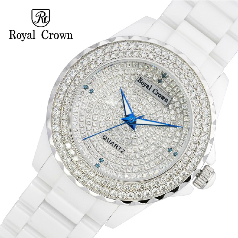 Ceramic Lady Women's Watch Japan Quartz Channel Setting Crystal Hour Fine Fashion Clock Luxury Girl's Gift Royal Crown royal crown jewelry watch 6413lc italy brand diamond japan miyota ceramic happy new year quartz crystal hour fine fashion clock