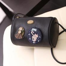 Dicool Frauen Taschen 2016 Mode Handtaschen Zylindrischen Crossbody Taschen Mini Bolsa Feminina Einfache Leder Patch Taschen
