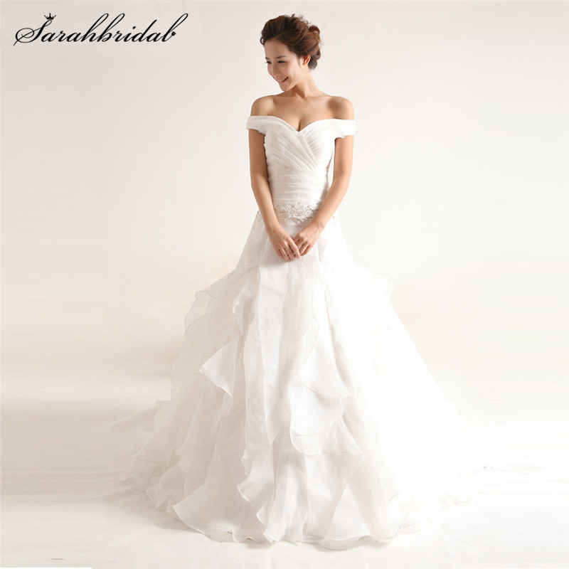 Off Shoulder Chiffon Ball Gown Wedding Dresses Real