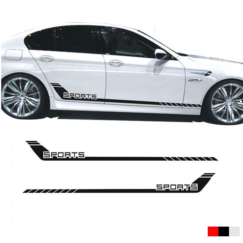 2pcs YongXun  Car Racing Stripes Sports Lower Door Panel Decal for 5 Series Side Sticker yongxun car dual stripes racing for alfa romeo 147 156 159 166 giulietta vinyl decal side stickers da 9897