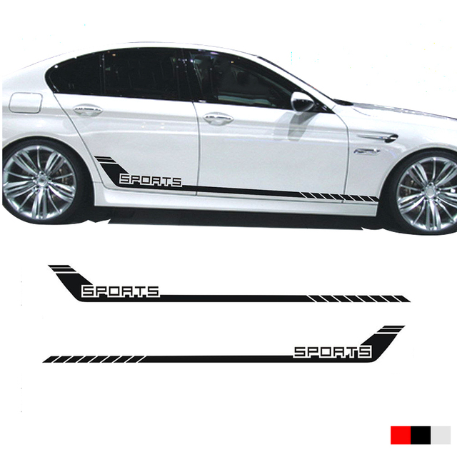 2pcs yongxun car racing stripes sports lower door panel decal for 5 series side sticker