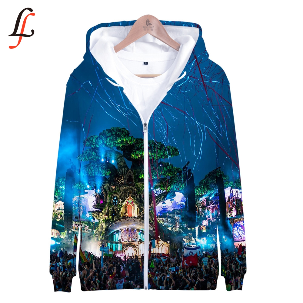 Tomorrowland 3D Print K Pop Zipper Up Hoodies Sweatshirts Sweatshirt Tops Harajuku Casual Pullover Streetwear Moletom 2019