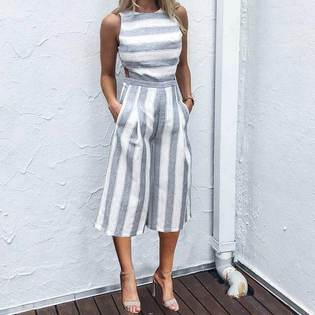 431bc47a5b8b New Arrival Cotton Linen Jumpsuits Women Elegent Rompers Stripe Seven-point  Tank Wide Leg Sexy Playsuit MT1654