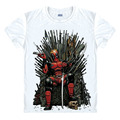New Slim Deadpool Costume X-men White Man Casual T-shirt Mens Fashion 2016 game of thrones Design Cotton Printed T Shirt Homme
