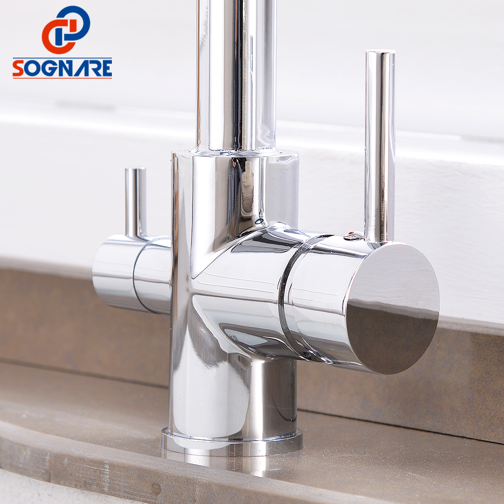 Kitchen Faucet with Filtered Water Mixer 360 Degree Rotation 3 Way Drink Water Tap Chrome Brass Sink Faucets Kitchen Mixer Taps