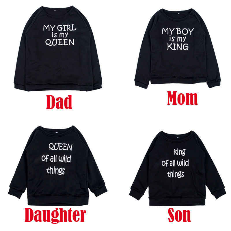 ed05611c88 Mom Dad Kids Long Sleeve Sweatshirt T Shirt Top Family Matching Clothes Couple  King Queen Pullover