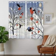 Blackout Curtains Darkening 2 Panels Grommet Window Curtain for Bedroom Red Bird Pattern Snow Wild Fruit Nuts