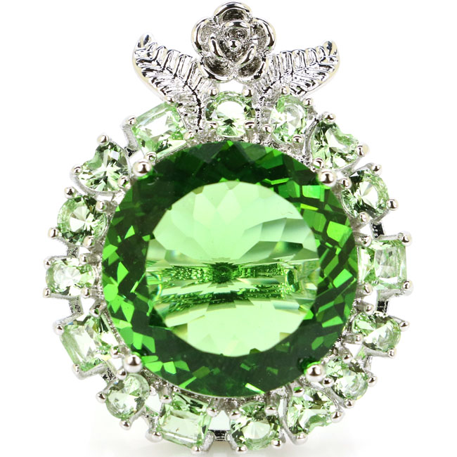6.5# Big Round Gemstone 14g Green Tsavorite Garnet Ladies Party Silver Ring 35x27mm6.5# Big Round Gemstone 14g Green Tsavorite Garnet Ladies Party Silver Ring 35x27mm
