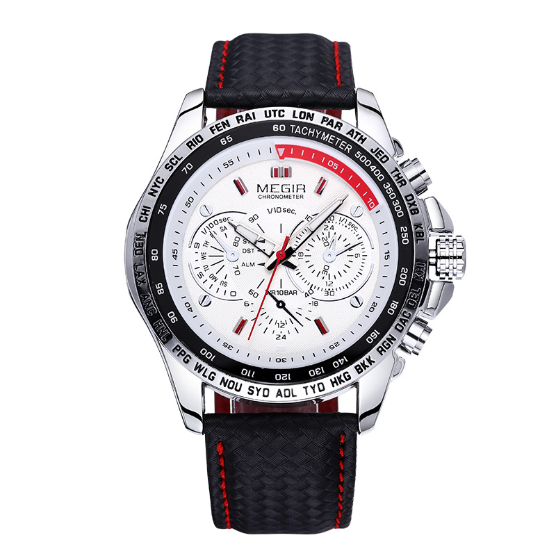 MEGIR 2016 Luxury Business Brand Watch Stålväska Quartz Watch Clock Men Äkta Läder Rem Men Män Armbandsur Erkek Kol Saati