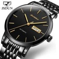 JSDUN Automatic Watch Men Black Mechanical Watches Sapphire Waterproof Luminous Hands Date Calendar montre automatique homme