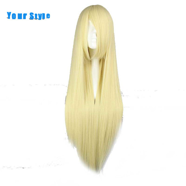 Your Style Long Straight Blonde Female Cosplay Wigs Womens Party Synthetic Natural Hair Heat Resistant