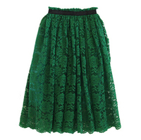Elegant Embroidery Bust Skirt Womens Lace Long Skirt Black and Green 2 Color