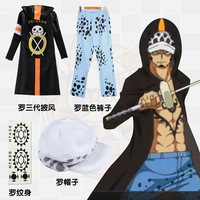 Stock One Piece Cosplay Costumes 3 Years Later Overcoat Cloak Pants Hat Tattoo Trafalgar Law Cosplay