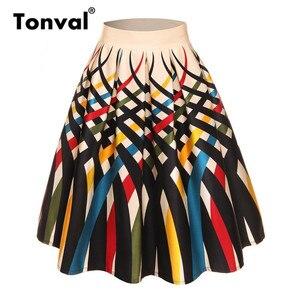Image 2 - Tonval Retro Họa Tiết Vintage Xếp Ly Chân Váy Nữ 2019 Cao Cấp Plus Kích Thước Váy Midi Cotton Mùa Hè 4XL Đầm Váy