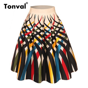 Image 2 - Tonval faldas plisadas con estampado Floral Retro para mujer, faldas plisadas Vintage, de cintura alta, de talla grande, Midi, de algodón, para verano, 4XL