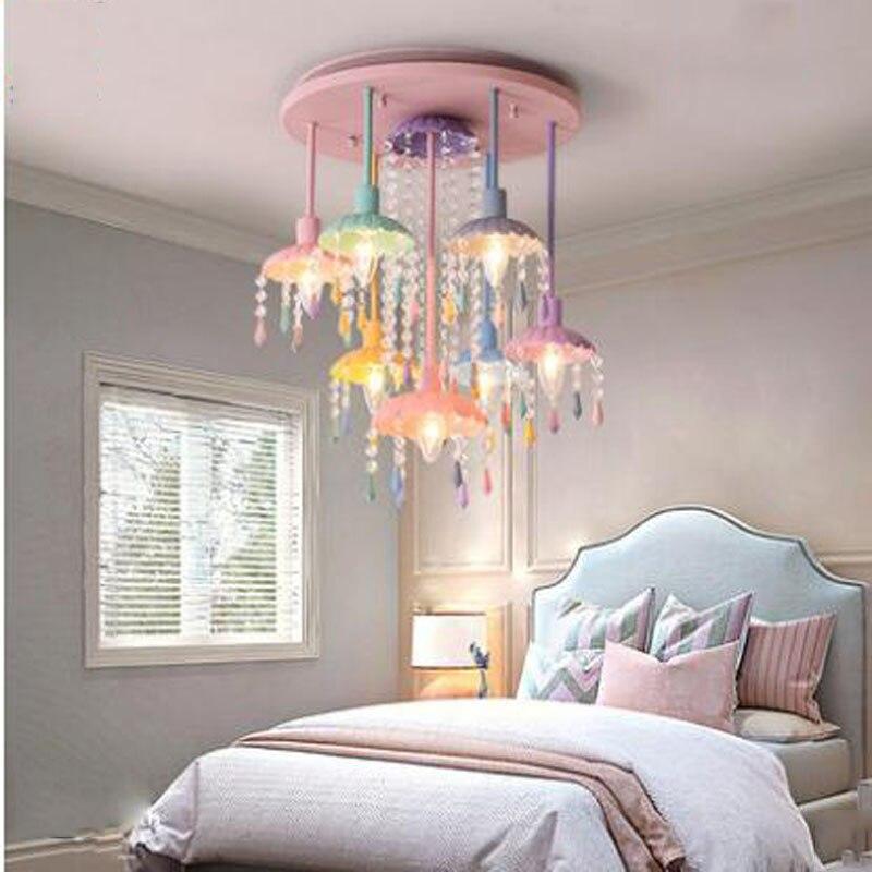 L творческий простой спальня лампа американская девушка принцесса детская комната освещение Nordic теплый Кристалл Потолочный светодио дный