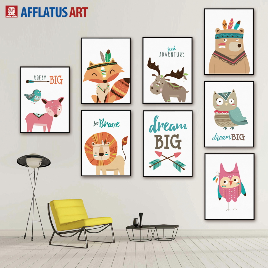 AFFLATUS Nordic Cartoon Animals Decorative Pictures Canvas Painting Wall  Art Canvas Poster Wall Pictures Kids Room