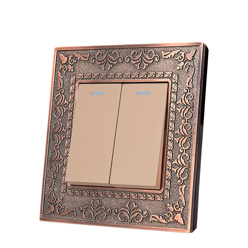 Wall Switch 2 Gang 2 Way, 86 Antique Copper Carved Zinc Alloy Switch Panel, 10A AC110-250V платье yulia dushina