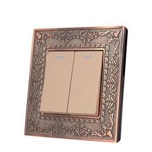цена на Wall Switch 2 Gang 2 Way, 86 Antique Copper Carved Zinc Alloy Switch Panel, 10A AC110-250V