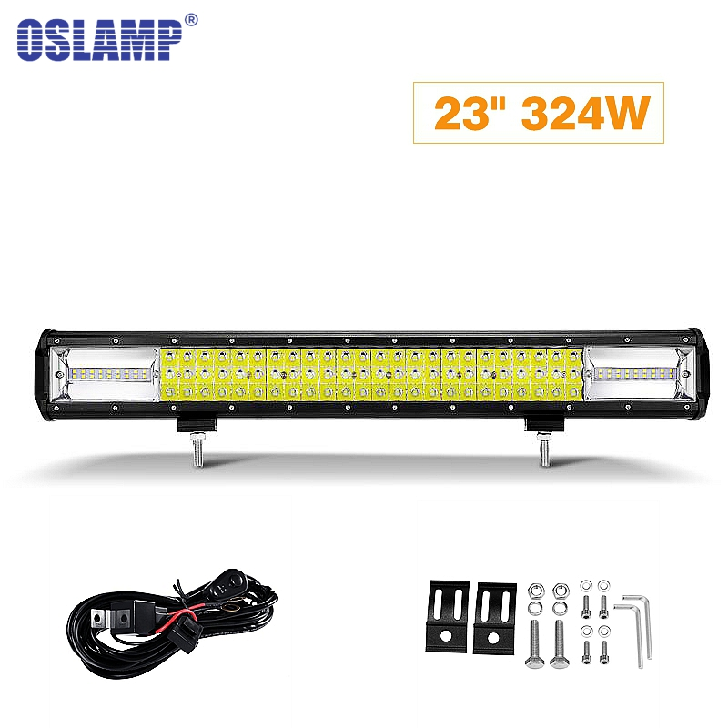 Oslamp LED Work Light 23inch 324W 3 Row Car Light Bar Combo Beam Offroad Led Work 12v 24v Led Bar Driving Lamp Truck SUV ATV 4x4 discharge power fuse l1b a800xp1 b88069x6551b201 chase flow 800v