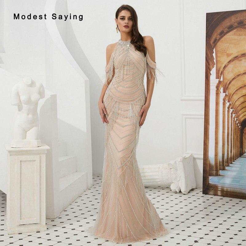 Luxury Nude Pink Mermaid Beaded Tassel   Evening     Dresses   2019 Sexy See Through Back Party Prom Gowns vestidos de fiesta de noche