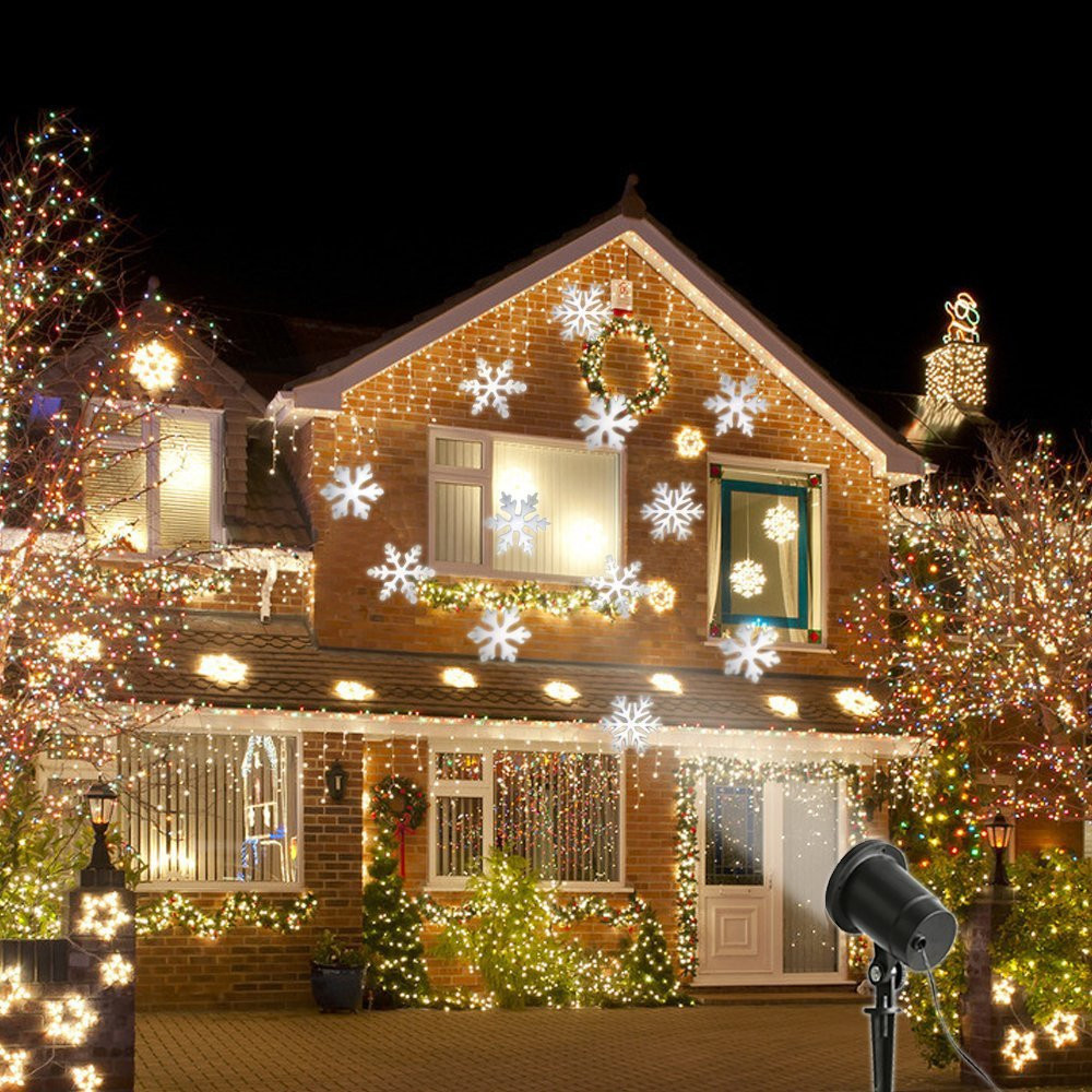ФОТО Multicolor/White Snow Moving LED Laser Light for Landscape House Outdoor Christmas Garden lawn spotlight EU/US plug