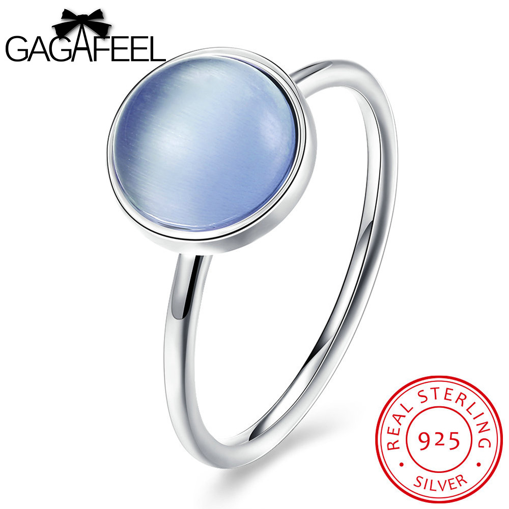 GAGAFEEL Pure 925 Sterling Silver Rings Round Blue Finger Jewelry With Shinning Clear CZ Zircon For Friendship Women Wedding