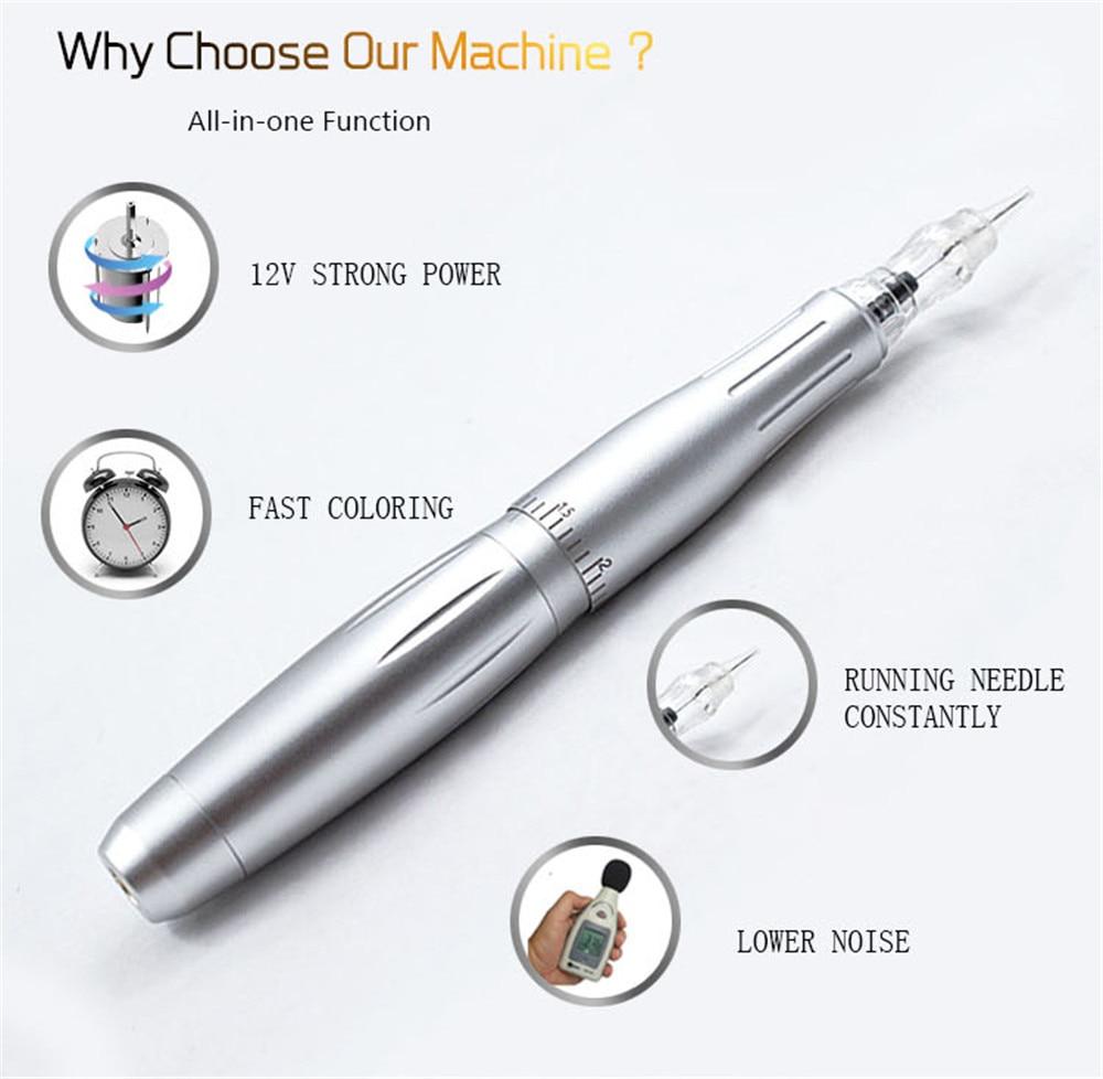 Professional татуировка бровей и губ Перманентный макияж машина для бровей резьба Поворотная тату-машинка комплект 3 иглы питания