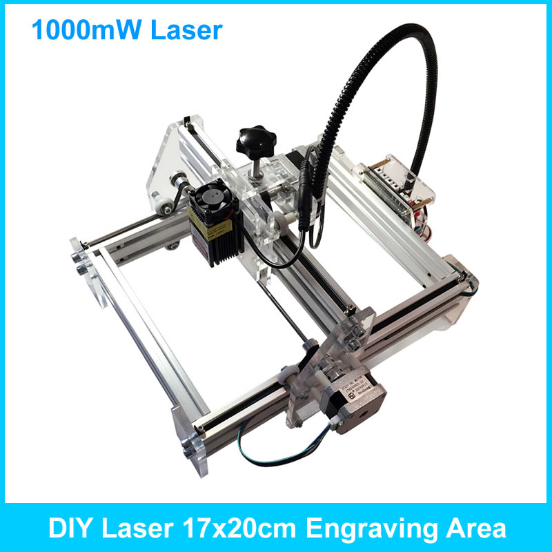 1000mW Laser Power, DIY Mini Laser Engraving Machine, 17*20cm Engraving Area ,Mini Marking Machine 100mw laser power diy mini laser engraving machine 35 50cm engraving area mini marking machine advanced toys best gift