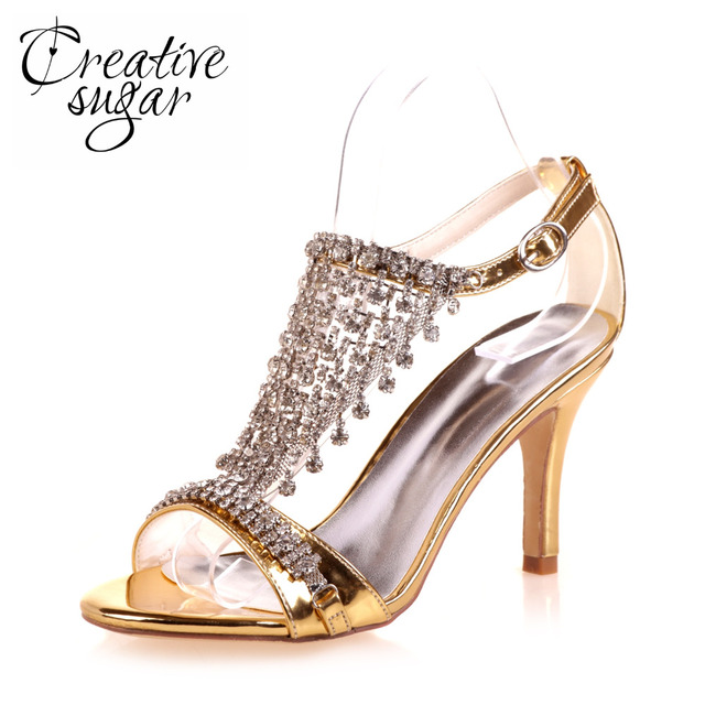 Creativesugar woman T shape strap sandals rhinestone fringe wedding party cocktail summer dress shoes metallic gold silver blue