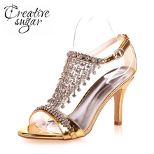 Creativesugar woman T shape strap sandals rhinestone fringe wedding party cocktail summer dress shoes metallic gold silver blue
