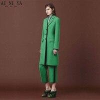 Green Women Pant Suits Autumn Elegant Formal Office Uniform Style Slim 2 Piece Set Blazer Female Long Jacket Ladies Trouser Suit
