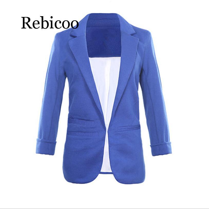 Women Formal Jackets Office Work Open Front Notched Blazer 2019 autumn Slim Fit Blazer white Ladies Blazer