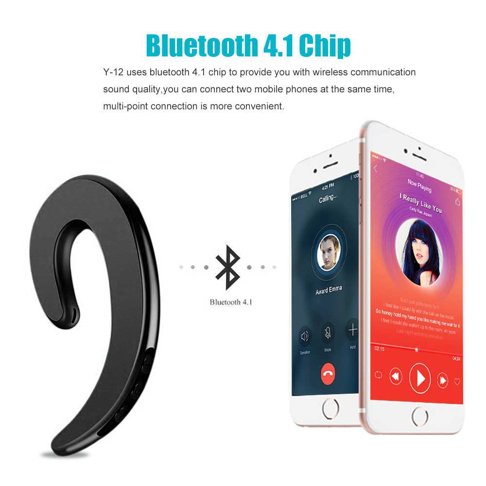 d758cab3a67 Y 12 Wireless Bluetooth Sport Earphone Bone Senor Ear Hook No Ear plug No  Pain Headphone with Mic For iPhone Android-in Bluetooth Earphones &  Headphones ...