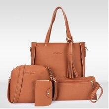 4pcs/Set Fashion Women Bag PU Leather Shoulder Bag Women Clutch Handbag Set Large Shoulder Bag Tote bolsa feminina Messenger Bag