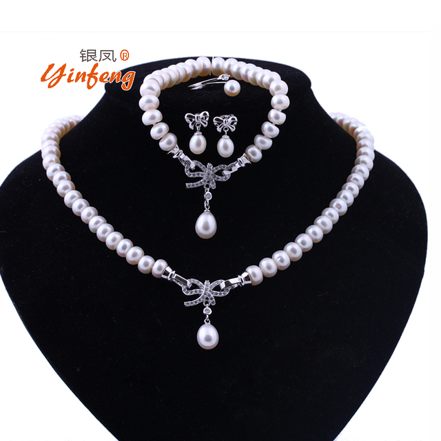 [MeiBaPJ]Real Culture Pearl 925 Sterling Silver Jewelry Set Bracelet Necklace Earrings And Ring For Women Wedding Accessaries