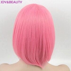 Image 2 - NIỀM VUI & LÀM ĐẸP Tóc Ngắn Bob Thẳng Tóc Giả Tóc Tổng Hợp Hóa Tóc Giả Sợi Nhiệt Độ Cao Hồng Dài 12inch Nữ bộ tóc giả