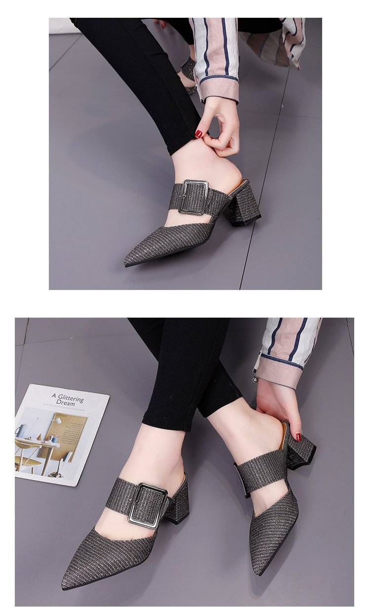 2019spring New Thick with Muller Shoes Women's High Heels Pointed Belt Buckle Back Air Slippers Elegant Temperament Baotou 10