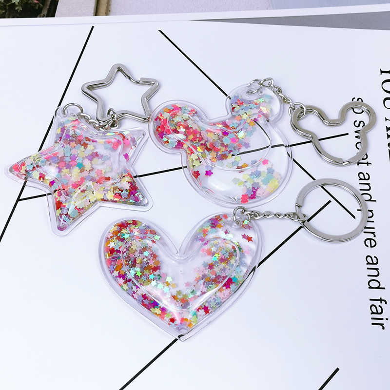 Personality Pentagram Love Plastic Quicksand Sequin Liquid Keychain Women Keyring Girl Backpack Pendant Girlfriend Couple Gift