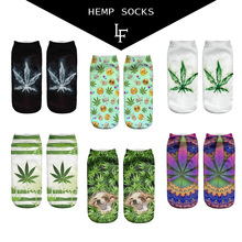 2016 New Harajuku Short 3D Hemp Sock Summer Autumn Pretty Comfortable Meias Calcetiness Ankle Weed Print Socks