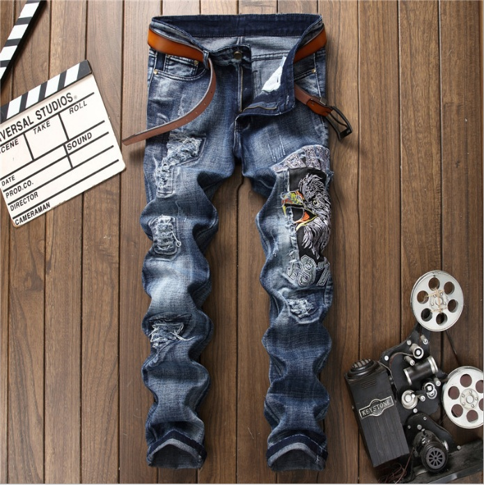 Pop Fashion High Quality Wash Patch Beggar Style Jeans 1