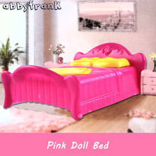 Abbyfrank Princess Pink Bed Doll Furniture Bedroom Doll Accessories Bedchamber Bed Miniature Pillow Bed Dollhouse Furniture