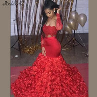Modabelle Красная Русалка платье для выпускного вечера Гала 2019 без бретелек 3D Цветы Черный обувь для девочек африканские платья для выпускного