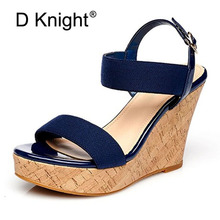 Plus Size 30-43 Buckle Strap Wedges Women Sandals Blue Beige Leather Gladiator Platform Lady Shoes Sexy Woman High Heels Sandal diamond wedges red women wedding shoes high heels sexy lady rhinestones buckle women pumps plus size 43