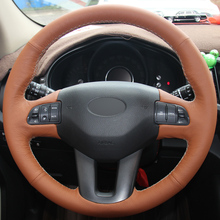 XuJi Orange Genuine Leather Hand-stitched Car Steering Wheel Cover for Kia Sportage Sportage 3 2011-2015