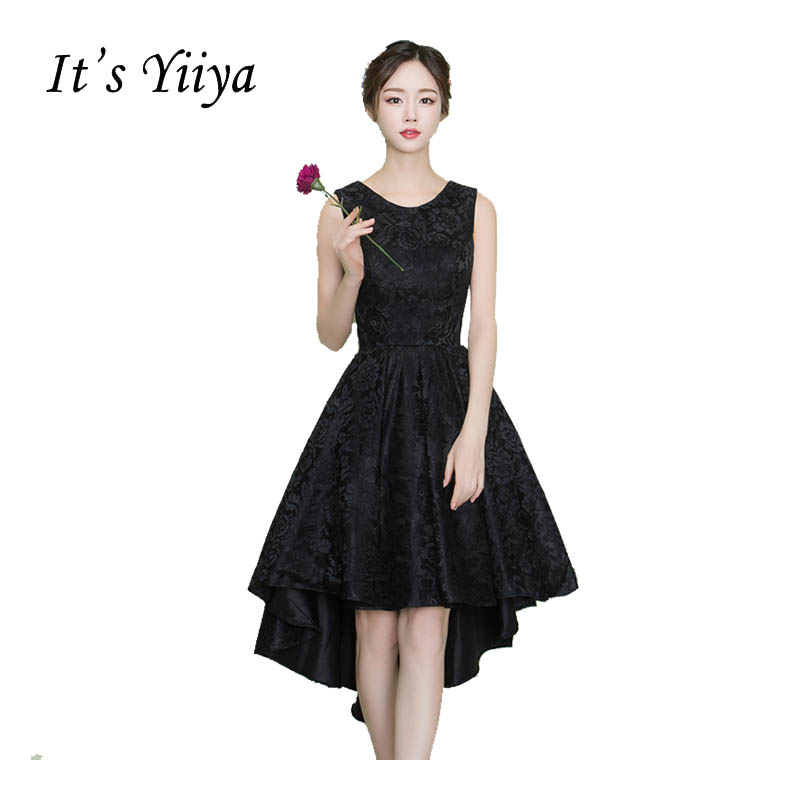 It's YiiYa Black O-neck Sleeveless   Cocktail   Little Black   Dress   Lace Knee Length High-low Party Simple Vintage Black   Dresses   X254